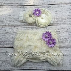 Baby Lace Ruffle Shorts Matching Baby Headband Baby Girl Diaper Covers Baby Ruffle Bloomer