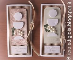 briciole di gioia: 2 Cards porta soldi per le prime comunioni Holy Communion Invitations, Communion Favors, Diy And Crafts, Paper Crafts, Spellbinders Cards, First Communion, Mini Albums, Origami, Kingston