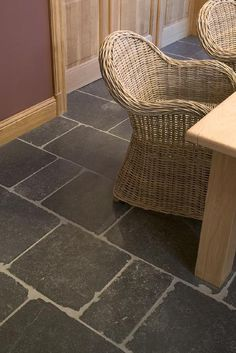 Belgian Blue Limestone Paving - Honed Finish with Hand Chipped Edges Belgian Blue, Building Stone, Natural Stone Flooring, Outdoor Chairs, Outdoor Decor, French Oak, Hallway Decorating, Stone Tiles, Kitchen Flooring