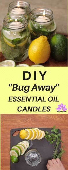 """Don't let mosquito season creep up on you! Make these all-natural candles now, and enjoy outdoor living in the summer, pest free. These homemade """"Bug Away"""" essential oil candles couldn't be easier. It's really just placing lemons, limes, and rosemary inside a mason jar, topping with water and essential oils. But wow, are they pretty! The flickering light that they give off at night is so soothing and relaxing. You might want to make up a few of these even if you don't have a bug problem!"""