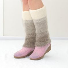 Wool leg warmers white beige brown   knitted felted by WoolenClogs, $57.00