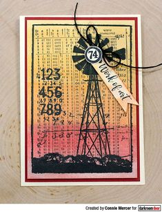 Card by Connie Mercer using Darkroom Door Number Medley Stamp Set and Country Windmill Photo Stamp