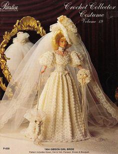 Gibson Girl Bride Dress Crochet Doll Dress par DollBookCollection