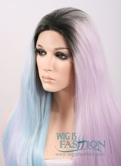 """18""""-28"""" Long Wavy Black Light Blue Light Purple Ombre Customizable Lace Front Synthetic Hair Wig LF756"""