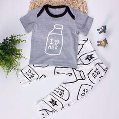 I Love Milk Print Baby Girl/Boy Cotton Short Sleeve and Pants Set