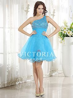 Blue Ball Gown Mini Beaded Organza One Shoulder With Straps Prom Dress - US$ 88.19 - Style P0548 - Victoria Prom