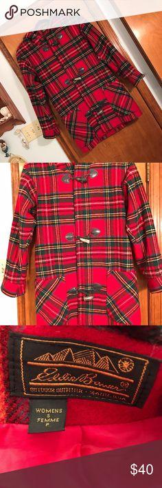 Eddie Bauer women's small red plaid jacket! Eddie Bauer, women's small, red, plaid, padded shoulders, excellent condition!!!!! Wish it fit me :( perfect winter jacket!! Longer length, past waist! Eddie Bauer Jackets & Coats Pea Coats