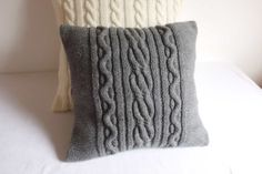 Hand Knit Pillow Case Dark Gray Throw Pillow by Adorablewares