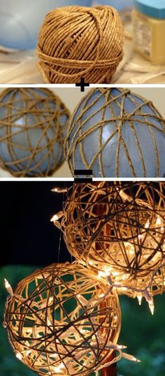 Lantern DIY: Let there be light! - Splash of Something Twine Lanterns – DIY Garden Lighting Ideas. / Cordéis Lanterns – Bricolagem Jardim idéias d Outdoor Christmas Decorations, Diy Party Decorations, Garden Decorations, Christmas Garden, Christmas Diy, Christmas Pictures, Christmas Lights, Decor Crafts, Diy Crafts
