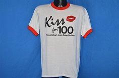 vintage 80s KISS 100 FM PHILADELPHIA'S LOVE RADIO STATION RINGER t-shirt MED M