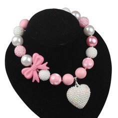 2017 Fashion Handmade Pink Bowknot 20mm Bead Love Crystal Heart bubblegum Chunky Necklaces Kids Girl Baby Party Birthday Gift #Affiliate