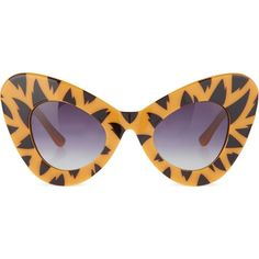 JEREMY SCOTT Tiger print cat-eye sunglasses ($245) ❤ liked on Polyvore featuring accessories, eyewear, sunglasses, tiger print, cat eye glasses, jeremy scott, print sunglasses, jeremy scott glasses and cateye sunglasses