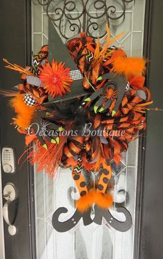 XL Halloween Wreath, Fall Wreath, Wicked Witch Wreath, Front door Wreath, Halloween Party Decoration, Wreath by OccasionsBoutique on Etsy https://www.etsy.com/listing/454808212/xl-halloween-wreath-fall-wreath-wicked