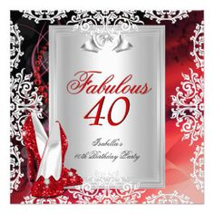 40th Birthday Party Invitation #redshoes #40th