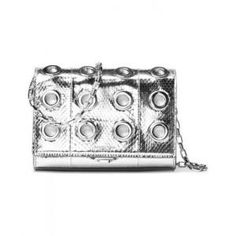 Michael Kors Silver Leather Small Yasmeen Clutch - 40% Off