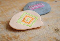 DIY Cross Stitch Clay Pins
