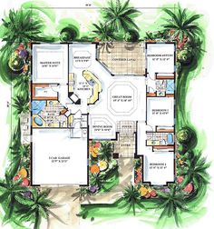 Retirement home with room for visiting kids, grand kids and friends!  lovehimFirst Floor Plan of Mediterranean   House Plan 60503