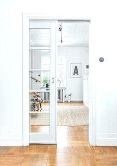 French Door Curtain Ideas For Your Home Cavity Sliding Doors, Sliding French Doors, Sliding Glass Door, Double Doors, Interior Barn Doors, Home Interior, French Interior, Scandinavian Interior, Interior Shutters
