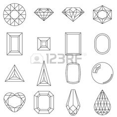 Set of jewelry shapes, different cuts of gem stones Stock Vector