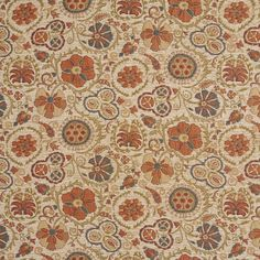 Beige and Coral Floral Chenille Upholstery Fabric
