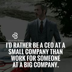 I'd rather be a CEO at a small company than work for someone at a big company.
