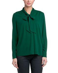 Lafayette 148 New York Elisabetta Emerald Tie-Front Silk-Blend Top is on Rue. Shop it now.