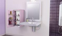 Une salle de bain au concept unique : un meuble amovible pour s'adapter à la mobilité de chacun. (Cuisines You - Gamme Evolution, Modèle Zen)