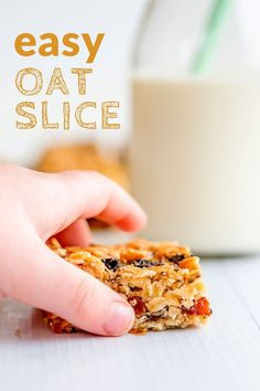 An easy oat slice recipe, made with rolled oats, chia seeds, and simple ingredients, my kids' favourite slice! #kidsfood #baking #todderfood #kidsbaking #kidsinthekitchen #cookingwithkids Oats Recipes, Baby Food Recipes, Gourmet Recipes, Sweet Recipes, Baking Recipes, Healthy Recipes, Recipies, Healthy Tips, Healthy Meals For Kids
