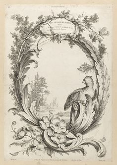 Large oval design consisting of an arrangement of foliate branches to form a cartouche at top inscribed DIVERS ORNEMENS/Dédiés/a Monsieur TANEVOT architecte du Roi/ par son T.H.S Peyrotte. A butterfly on a branch (upper right), a parrot perched on a scroll (lower right), a group of flower heads (poppies?) and acanthus leaves (bottom). Within the oval, a scene of an island with tall trees, a stone structure (left middle ground), and a marsh (right, foreground).