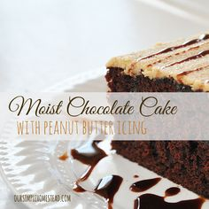 Moist Chocolate Cake with Peanut Butter Icing - A moist chocolate cake is a staple here on our homestead.It is like a peanut butter cup in a cake!  Yum!!! #chocolatecake