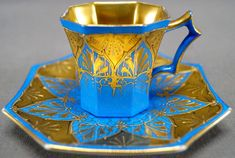 Antique Fischer & Mieg Paepke & Schafer HP Fancy Gilt & Blue Demitasse Cup C 1918 - 1930. arked on the bottom with a green crossed hammers over Czechoslovakia.