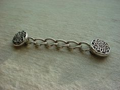 Ornate Buttons and Chain for Cape Cloak Renaissance Garb Silver tone O1338 #Handmade Seller florasgarden on ebay