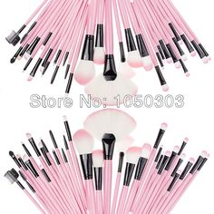 New Fashion Pink Makeup Brushes 32 Pcs Set Beautiful Professional make Up brushes  With Pink Leather Case-in Makeup Brushes & Tools from Bea...