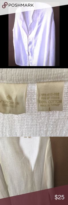 """Victoria Secret White Blouse Victoria Secret White Blouse 💖Amazingly Soft💖 Size L. 100% Cotton  Bust: 27.5"""" not stretched.  Sleeve Length 22"""" Worn once.  White soft and ready for the spring & summer ✴️all measurements are approximations but very close✴️ Victoria's Secret Tops"""