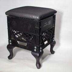 "Hybrid Stool by MADE. 13.5""x13.5""x18""high.  Commercial Milk Crate, Solid Wood Legs, Upholstered Seat."