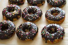Homemade chocolate glazed funfetti doughnuts