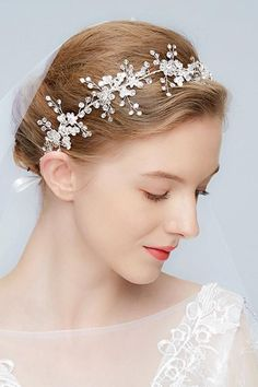 Western Style Manual Silver White Sparkling Rhododendron Fresh Soft Hair Band-860281 Hair Raising, Soft Hair, Western Style, Hair Band, Wedding Accessories, Wedding Hairstyles, Manual, Sparkle, Gems