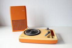 {1970s Vintage Orange Philips 113 portable record player}
