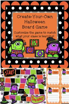 Need a template to create your own Halloween-themed board game? This set has a fun game board and blank game cards ready to be customized. $