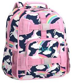 Mackenzie Navy Rainbow Unicorn Lunch Bags