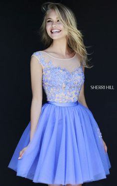 Periwinkle & Nude Prom Dress On Sale Short Floral U-back Sherri Hill 11171 [Periwinkle & Nude Sherri Hill 11171] - $174.00 : Prom Dresses Outlet,Prom Dresses 2016
