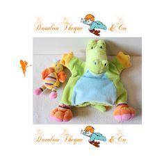 Doudou marionnette crocodile NICOTOY canard multicolore 25 cm