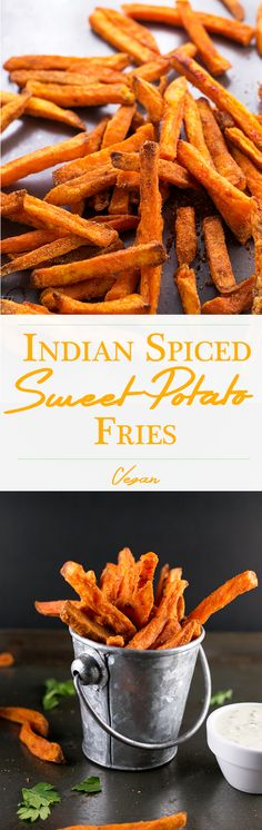 Indian Spiced Sweet Potato Fries with creamy Garlic Parsley Cashew Dip. Vegan.change cooking instructions to make a whole food by not using oil and bake on parchment paper 20mins at 425 degrees turn and bake another 20 mins.- cut potatoes into quarters