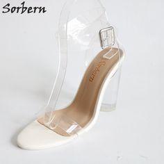 76.41  Sorbern Kim Kardashian Sandalia de las mujeres claro transparente de  PVC tacón Correa Sandalias de tacón alto el tamaño de Color zapatos de mujer  ... 67240c1d5f