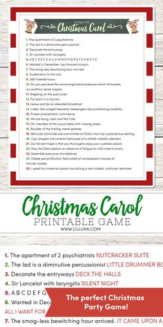 Guess the Christmas Carol - use the clues to guess the carol. A fun, FREE, game to use at your next Christmas party!