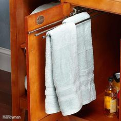 Get better access to hidden space. Pullout towel racks are typically meant for kitchens, but they're also perfect for cramped bathrooms. Cabinet Door Storage, Storage Cabinets, Cabinet Doors, Kitchen Storage, Bathroom Towel Storage, Bathroom Towels, Basement Bathroom, Storage Hacks, Storage Ideas