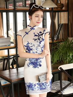 Blue And White Floral Print Qipao / Cheongsam Dress