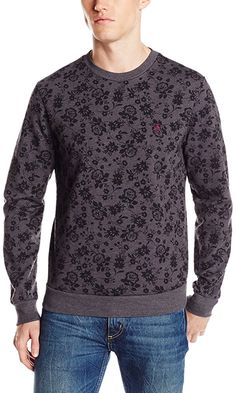 Original Penguin Men's Floral Print Fashion Fleece Pull Over,  Dark Charcoal Heather,  Large Best Price