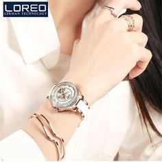 >> Click to Buy << LOREO Women Casual Watches Ladies Wrist Watch Gold Bracelet Simulated Ceramic Dress Diamond Quartz-watch relogio feminino K45 #Affiliate
