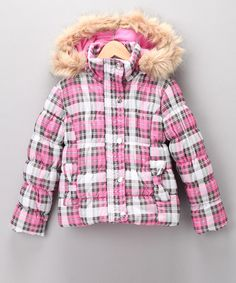 Take a look at this Pink Plaid Quilted Coat - Girls by Dollhouse on #zulily today!